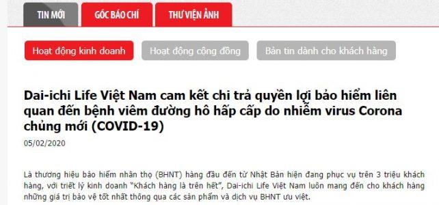 Dai-ichi Life Việt Nam cam kết chi trả do nhiễm virus Corona chủng mới COVID-19